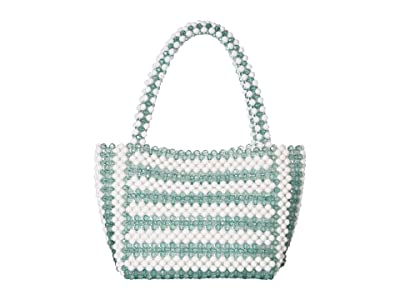 Loeffler Randall Mina Beaded Tote (Vetiver/White) Tote Handbags