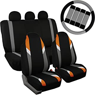 FH Group FB133115 Full Set Premium Modernistic Seat Covers Orange/Black W. FH2033 Steering Wheel Cover & Seat Belt Pads - Fit Most Car, Truck, SUV, or Van