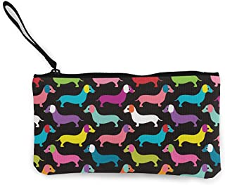 Retro Dogs Dachshund Wallet Coin Purse Canvas Zipper Credit Card Pouch Wallet For Travel