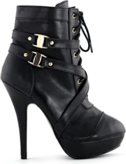 Show Story Black Buckle Strappy High Heel Stiletto Platform Ankle Boots,LF30470BK37,6US,Black
