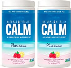 Natural Vitality Natural Magnesium Calm Plus Calcium, Rasbpery Lemon (2 Bottles of 16 Ounce)