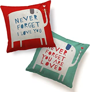 Couple Pillow Cover Cushion Case Never Forget I Love You/ Your Are Loved Printing Elephant Love Festival Wedding Party Gift Home Decoration for Sofa Couch Chair Car Use Pillowcase Set of 2, Red Blue
