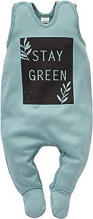 Pinokio Stay Green - Baby Jungen Mädchen Schlafstrampler Overalls Strampler Unisex 100% Baumwolle Schlafanzug Blau Türkis Babyspielanzug ärmellos 56 62 68 cm