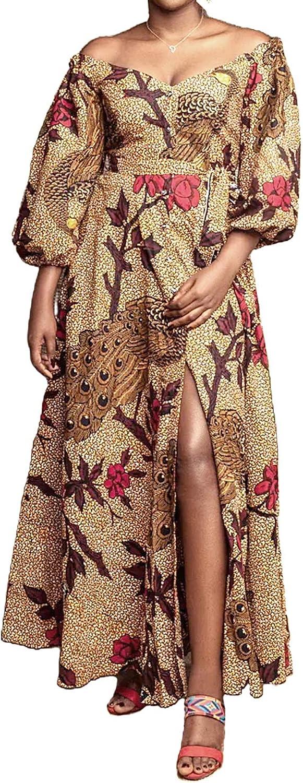 Erinaco Women's Sexy depot Boho supreme African B Lantern Sleeve Dresses Print