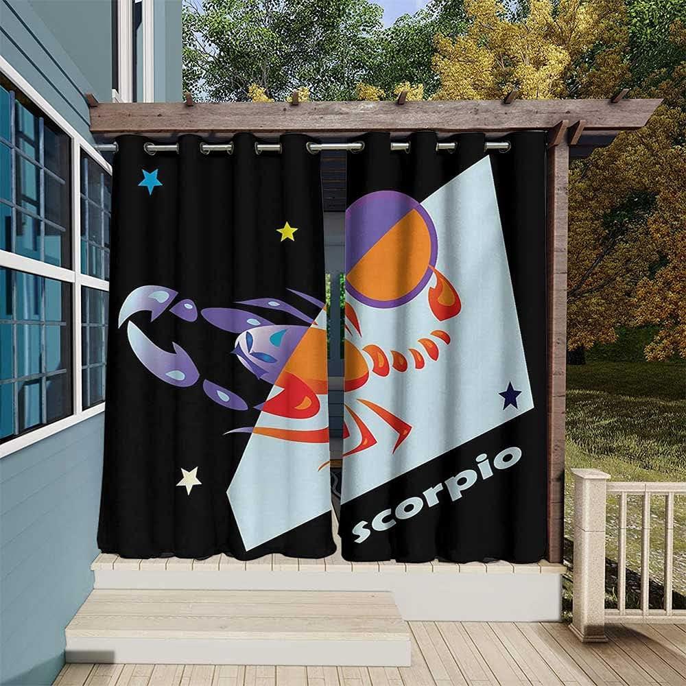 Zodiac Scorpio Department store Waterproof Patio Charlotte Mall Style Curtains Abstract Retro