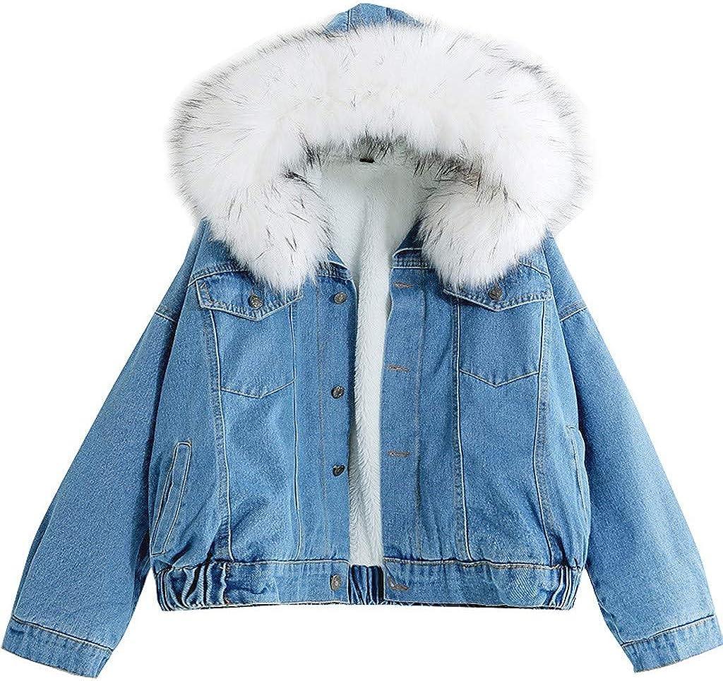 Winter Coat For Women Warm Denim Short Coat Collar Jacket Slim Hooded Outwear Coats