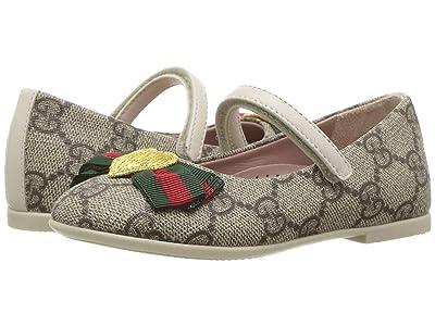 Gucci Kids Erin Ballerina (Toddler) (Beige/White) Girls Shoes