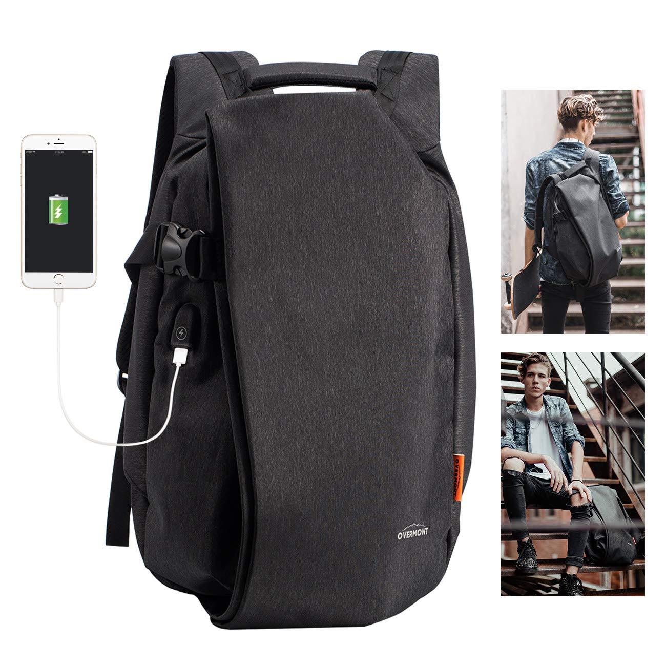 Overmont 复古帆布徒步背包 男式背包 笔记本电脑背包 大容量 单肩包 旅行包