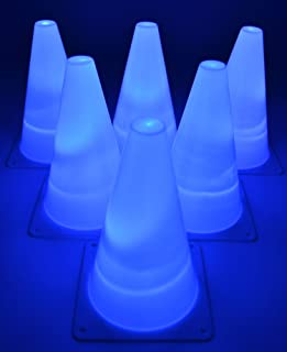 GlowCity Light-Up Soccer Training Cones – 6 x 7-inch Super-Bright LED Agility Drill Cones – for Basketball, Athletics and Glow-in-The-Dark Practice - Batteries Included (6 Pack)