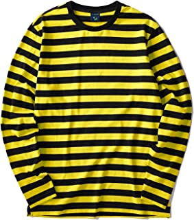Men's Casual Cotton Spandex Striped Crewneck Long-Sleeve T-Shirt Basic Pullover Stripe tee Shirt