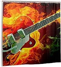 AJNIBREUIX Shower Curtain, Fire Green Violin Bath Curtain with Hooks for Master Bathroom, Kid's Bathroom, Guest Bathroom, 72 X 72 Inches