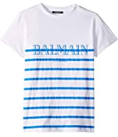 Balmain Kids - Short Sleeve Striped Tee w/ Logo (Big Kids)
