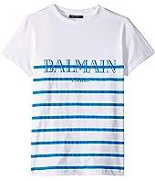 Balmain Kids - Short Sleeve Striped Tee w/ Logo (Big Kids)