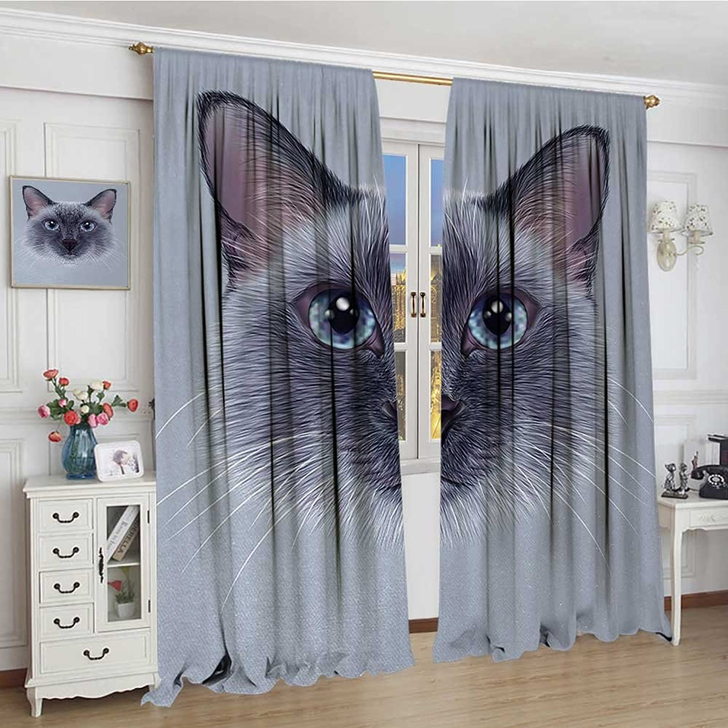 Animal Thermal Insulating Blackout Curtain Portrait Image of Thai Siamese Cat with Retro Style Lettering Artwork Patterned Drape for Glass Door 72 x96  White Sky bluee and Grey