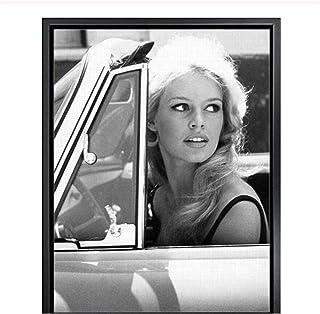Brigitte Bardot Mode Toile Art Impression Noir et Blanc Photo Vintage Art Peinture décoration murale-50x70 cm sans Cadre