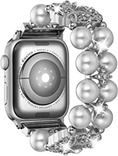 Compatible with Apple Watch Bands Bracelet 38mm 40mm 42mm 44mm, Adjustable Pearl Bead iWatch Bands Women Series 5 4 3 2 1 Bling Diamond Rhinestone Perfume Pendant Strap Cuff Wristband Jewelry