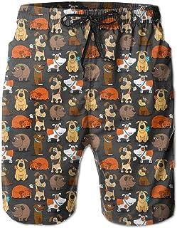 xiangwangdeli Man'S Quick Dry Beach Shorts Cute Bulldog Corgi and Pet Dogs Swimwear Water Shorts with Pockets