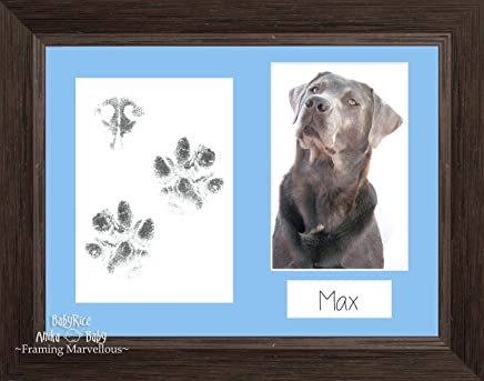 BabyRice – Pawprints Kit de Huellas de Mascotas Oscuro marrón Grano de Madera Foto Imagen Marco