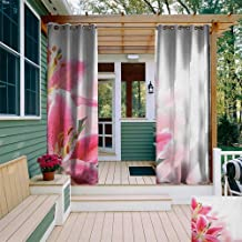 leinuoyi Pink and White, Outdoor Curtain Set, Florist Theme with Lilies Close Up A Fresh Bouquet for The Loved Ones, for Gazebo W108 x L108 Inch Pink Orange Green