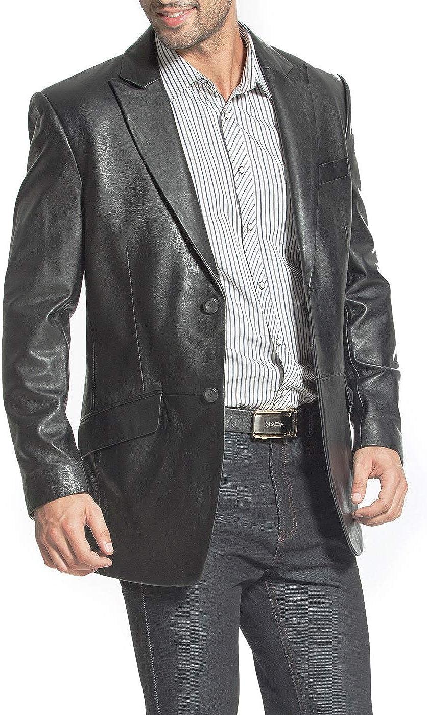 BGSD Men's Ben 2-Button Leather Blazer Lambskin Sport Coat Jacket Black Big and Tall 2XLT