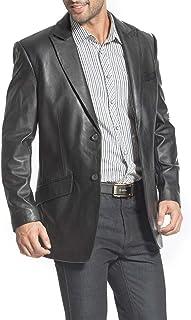 BGSD Men's Ben 2-Button Leather Blazer Lambskin Sport Coat Jacket (Regular, Big & Tall and Short)