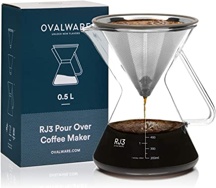Pour Over Coffee Dripper - Unlock New Flavors with Paperless Stainless Steel Filter, Precision Measuring Cup and Carafe - 0.5L / 17oz