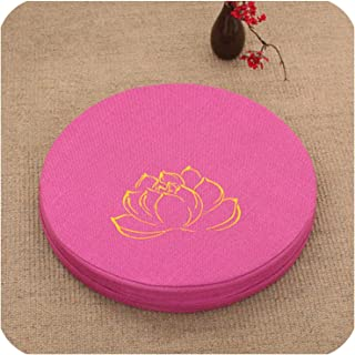 Cotton&Linen; Multi Function Embroidered Lotus Meditation Cushion Removable and Washable Floor Cushion Multi Size and Colors,Rose red,50cm Diameter 6cm T