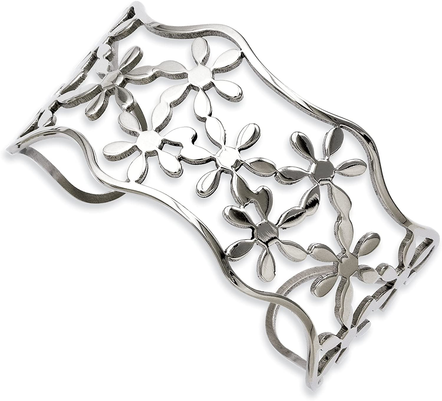 Stainless Steel Flowers Cuff Bangle