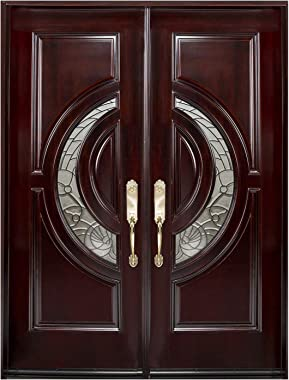 "Solid Wood Front Door 36""x36""x80"" Double Open Door High Class Crescent Glass Exterior Front Entry Double House Wood Door (36"""
