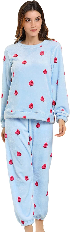 Allegra K Winter Flannel Pajama Sets for Women Cute Printed Long Sleeve Nightwear Top and Pants Loungewear Soft Sleepwears