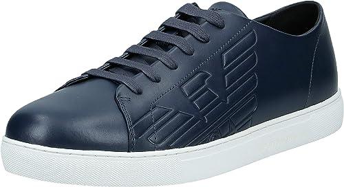 Emporio armani eagle logo classic pelle navy trainer sneaker casual da uomo X4X238 XF254