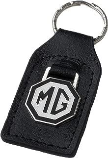 Triple-C MG (MGB) Black White Leather and Enamel Key Ring Key Fob
