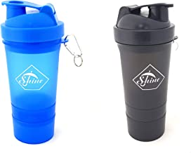 SET OF 2 PROTEIN SHAKER WITH POWDER STORAGE COMPARTMENT 350ML SPORTS aE GYM BOTTLE Estimated Price : £ 7,99