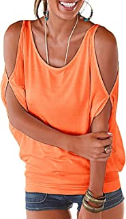 Miselon Women Cold Shoulder O-Neck Short Sleeve Sexy Loose Fit Summer Shirt Blouse Tops