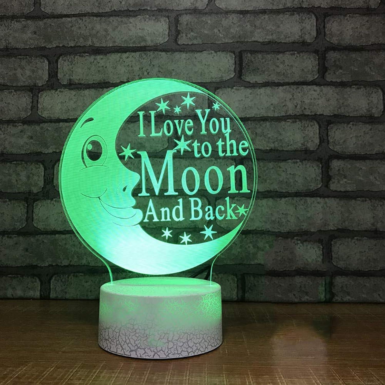 Zonxn 3D Abstract 7 colors Led Baby Sleep Night Lights Cartoon Moon Shape Desk Lamp Kids Touch Button Lighting Bedroom Decor USB Gifts