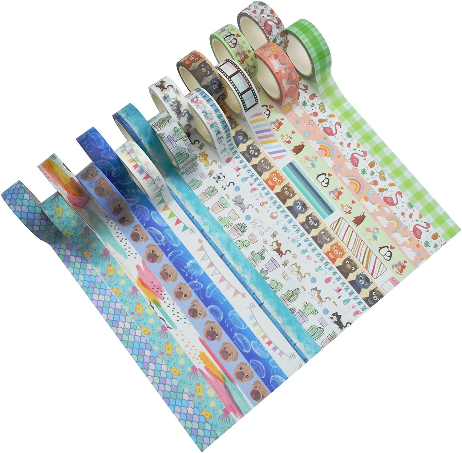 Animal Washi Tape Set, Fodeuxp 16 Rolls 15mm Wide 7 Meters Long Cute Decorative Masking Tape for Scrapbooking, Bullet Journals, Planners, DIY Crafts Arts : Office Products