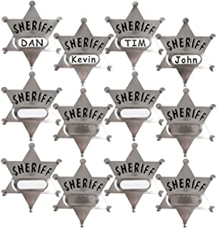 Silver Metal Sheriff Badge (Pack Of 24) With Space And Stickers For Personalized Name, For Kids Party Favors, Giveaways & ...