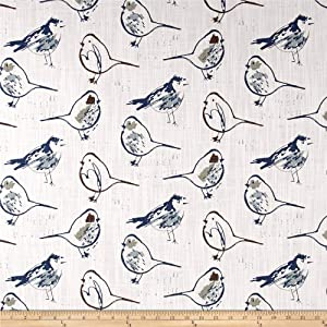 Premier Prints Bird Toile Regal Blue Fabric by The Yard