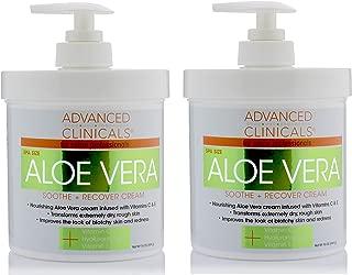 16oz Advanced Clinicals Aloe Vera Cream. Aloe Vera with Vitamin C, Hyaluronic Acid and Vitamin E cream for dry, rough skin, and redness. Large spa size 16oz cream with pump. (Two - 16oz)
