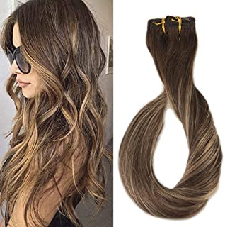 Full Shine 16inch 9 Pcs 120gram Per Set Balayage Full Head Clip in Remy Human Hair Extensions Color #4 Fading to #24 With Color #4 Highlighted 100% Real Hair Clip Ins