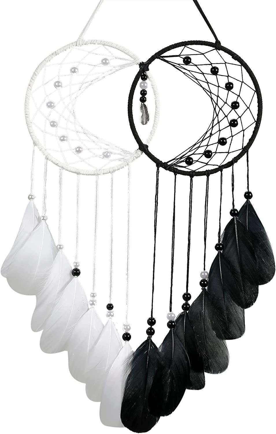 Holmgren Black White Dream Catchers - Handmade Moon Dream Catcher for Bedroom, Home Decor Wedding Wall Decor, Gifts for Couples(Black and White)
