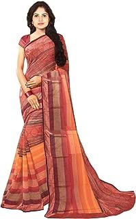 KLM Fashion Mall Women's Fancy Cotton Silk Saree (Beige & Brown)