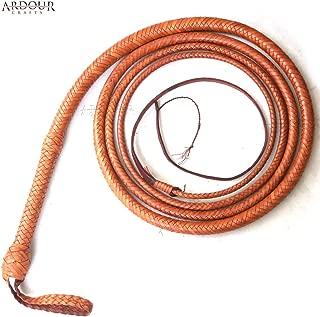 Ardour Crafts Kangaroo Hide Bull Whip 06 to 16 Feet, 12 Plaits Custom BULLWHIP Belly and Bolster Construction Indiana Jones Style Heavy Duty