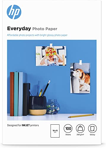 Papier photo HP Everyday, brillant, 200 g/m2, 10 x 15 cm, 100 feuilles