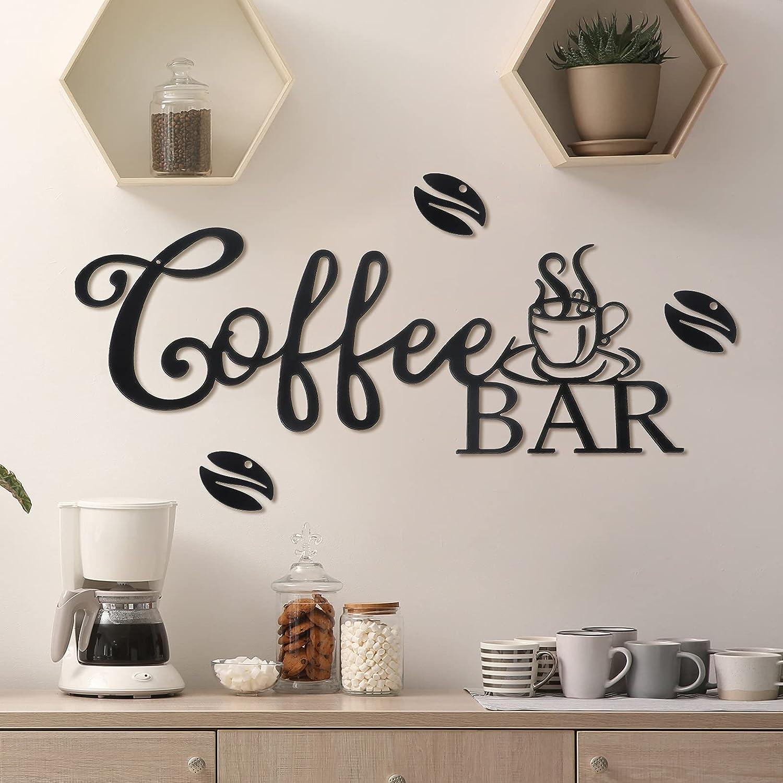 Metal Coffee Bar Sign Rustic Coffee Bar Hanging Wall Decor Coffee Signs for Coffee Bar Metal Coffee Wall Art for Coffee Bar Home Office Kitchen