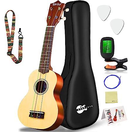 Everjoys Soprano Ukulele Beginner Pack-21 Inch w/Rainbow String Free Online Lesson Gig Bag Fast Learn Songbook Digital Tuner Pick All in One Kit