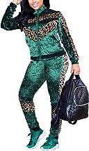 Akmipoem Women's Velour 2 Piece Outfit Leopard Print Long Sleeve Zipper Jacket and Pants Tracksuit Set