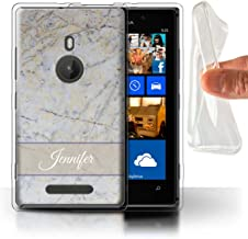 Personalized Custom Phone Case for Nokia Lumia 925 Custom Marble Cloud Grey Banner Design Transparent Clear Ultra Soft Fle...