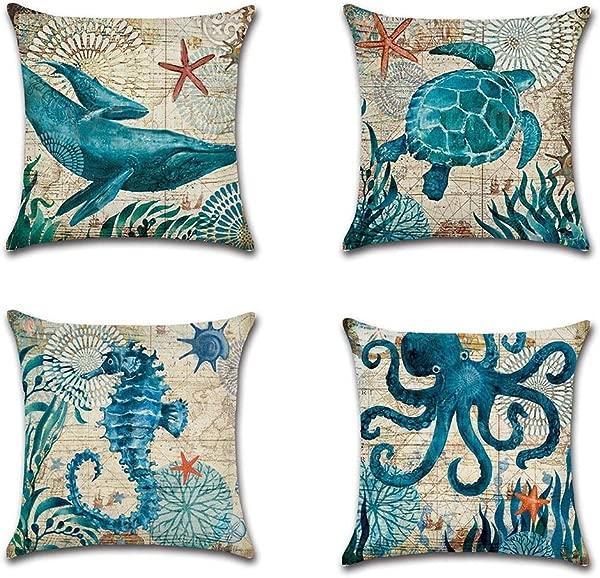 4 Pack Mediterranean Style Home Decor Ocean Cotton Linen Park Sofa Throw Pillow Case Set Of 4 Cushion Cover 18 X 18 Inch