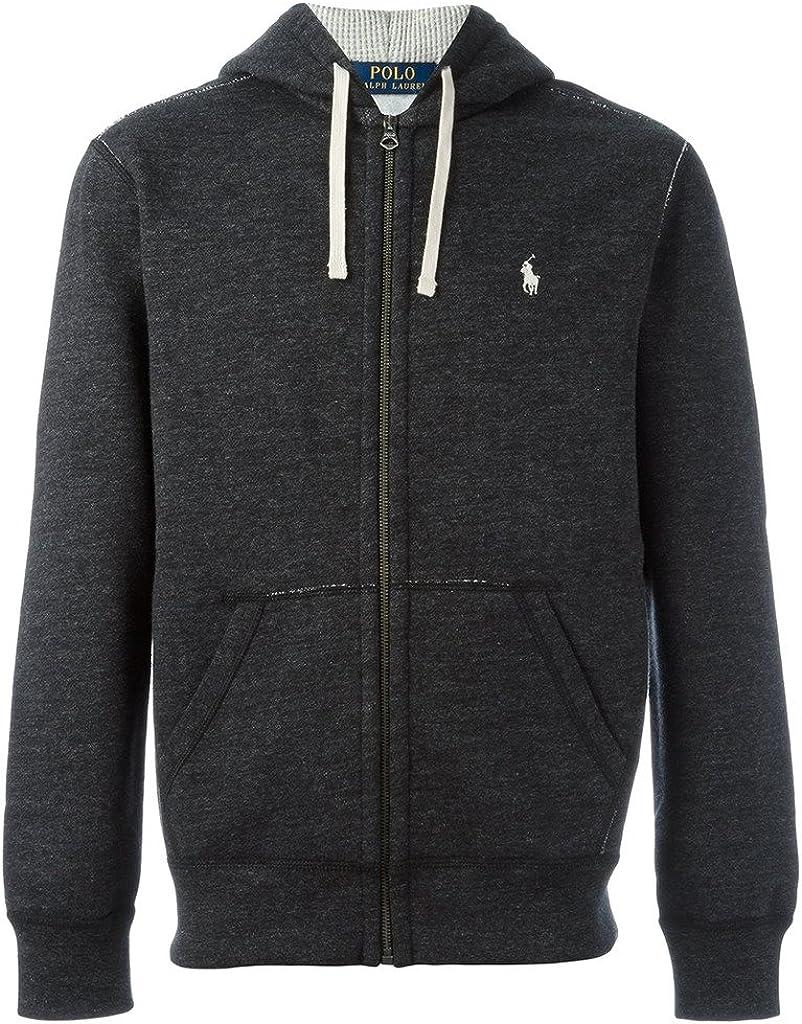Polo Ralph Lauren Classic Full-Zip Fleece Hooded Sweatshirt - M - Black Heather
